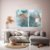 Conjunto com 02 quadros decorativos Abstrato Azul - Imagem 2