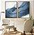Conjunto com 02 quadros decorativos Azul Abstrato - Imagem 1