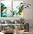 Conjunto com 02 quadros decorativos Abstrato Azul, Verde e Dourado - Imagem 1