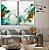 Conjunto com 02 quadros decorativos Abstrato Azul, Verde e Dourado - Imagem 2