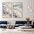 Conjunto com 02 quadros decorativos Marmorizado Azul e Bege - Imagem 1