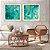 Conjunto com 02 quadros decorativos Abstrato Turquesa e Dourado  - Imagem 1