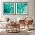 Conjunto com 02 quadros decorativos Abstrato Turquesa e Dourado  - Imagem 3