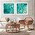 Conjunto com 02 quadros decorativos Abstrato Turquesa e Dourado  - Imagem 2