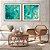 Conjunto com 02 quadros decorativos Abstrato Turquesa e Dourado  - Imagem 4