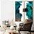 Conjunto com 02 quadros decorativos Abstrato Verde, Azul e Cobre - Imagem 1