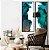 Conjunto com 02 quadros decorativos Abstrato Verde, Azul e Cobre - Imagem 2