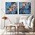 Conjunto com 02 quadros decorativos Abstrato Azul e Cobre - Imagem 3