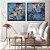 Conjunto com 02 quadros decorativos Abstrato Azul e Cobre - Imagem 1