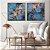 Conjunto com 02 quadros decorativos Abstrato Azul e Cobre - Imagem 2