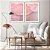 Conjunto com 02 quadros decorativos Abstrato Rosa e Lilás - Imagem 1