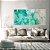 Conjunto com 02 Quadros Decorativos CANVAS Abstrato Verde e Azul 80x80cm (LxA) Moldura Canaleta na cor Branco - Imagem 1