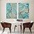 Conjunto com 02 quadros decorativos Abstrato Azul com detalhes Dourado e Cobre - Imagem 2