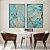 Conjunto com 02 quadros decorativos Abstrato Azul com detalhes Dourado e Cobre - Imagem 1
