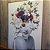 ENVIO IMEDIATO - Quadro Decorativo Mulher Floral Rosa 50x70cm (LxA) Moldura Alumínio Rose Gold - Imagem 1