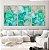 Conjunto com 03 quadros decorativos Abstrato Verde, Azul e Dourado - Imagem 1
