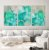 Conjunto com 03 quadros decorativos Abstrato Verde, Azul e Dourado - Imagem 4