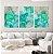 Conjunto com 03 quadros decorativos Abstrato Verde, Azul e Dourado - Imagem 2