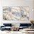 Conjunto com 03 quadros decorativos Abstrato Azul e Bege - Imagem 1