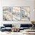 Conjunto com 03 quadros decorativos Abstrato Azul e Bege - Imagem 3
