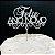 Topo de Bolo Feliz Ano Novo Glitter Prata Sonho Fino Rizzo Confeitaria - Imagem 1