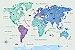 Adesivo Mapa-Múndi - Animais (Tons Azuis) - Imagem 1