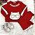 Conjunto de bebê Petit Cherie menina moletom ursinho vermelho - Imagem 2
