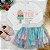 Conjunto infantil Petit Cherie inverno blusa saia tutu verde rosa - Imagem 2