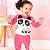 Conjunto de bebê Momi inverno blusa com calça plush panda rosa - Imagem 1