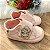 Tênis de bebê infantil menina verniz coroa de perólas rosa claro Tam 17 - Imagem 1