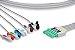 Conjunto Rabicho ECG 5 vias Compatível com DRAGER 6 - Imagem 1