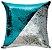 Capa de Almofada Vazia Paetê Wave 43x43 Azul Tiffany e Prata - Rozac - Imagem 1