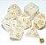 Kit Dados RPG -Branco e Dourado Perolado - Imagem 1