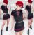 Conjuntinho rendado com short saia - Preto e vermelho - Imagem 2