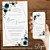 Convite Florido Azul e Nude com Formas Geométricas - Arte Digital - Imagem 1