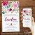 Convite Aniversário Florido Rosa e Ciano Aquarela  - Arte Digital - Imagem 1