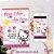 Convite Hello Kitty Rosa Claro - Arte Digital - Imagem 1