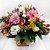 Arranjo de Flores Mistas no Cachepôs de Madeira - Imagem 2