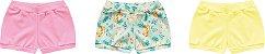 3 Cobre Fraldas Shorts Bebê Suedine Tigrinha Amarelo Kiko Baby - Imagem 1