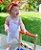 Jardineira Bebê Tricot Branca Rosa Listras - Imagem 2