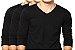 KIT com 3 Camisetas Gola V Masculina Manga Longa - Imagem 1
