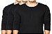 KIT com 3 Camisetas Gola Portuguesa (Henley) Masculina com 4 Botões Manga Longa - Imagem 1