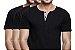 KIT com 3 Camisetas Gola Portuguesa (Henley) Patê Colorido Masculina com 4 Botões Manga Curta - Imagem 1