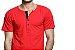 Camiseta Gola Portuguesa (Henley) Patê Colorido Modelo 2 Masculina com 4 Botões Manga Curta - Imagem 2