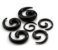 Alargador Espiral Caracol Preto Acrílico Hiphop Gótico Expansor para Orelha 8mm - Imagem 1