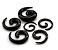 Alargador Espiral Caracol Preto Acrílico Hiphop Gótico Expansor para Orelha 16mm - Imagem 1