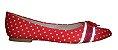 Sapatilha Vermelha com Poá Branco e Lacinho em Verniz Vermelho. Linda e Delicada. Deixa o Visual Destacado e Alegre  - Imagem 2