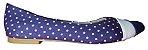 Sapatilha Azul com Poá Branco, Tira de Napa Branca e Bico em Nobuck. Deixe seu Look mais Divertido com Essa Sapatilha ! - Imagem 2
