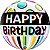Balão Bubble Transparente Feliz Aniversário Listra Preta e Pontos - 22'' 56cm - Qualatex - Rizzo festas - Imagem 1