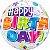 Balão Bubble Transparente Estampa de Festa de Aniversário - 22'' 56cm - Qualatex - Rizzo festas - Imagem 1